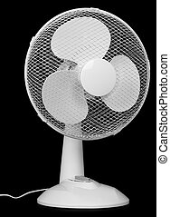 Office fan isolated on black background