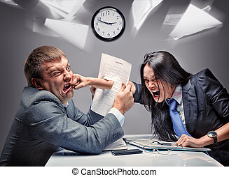 Office fight - Two office workers starting to fight