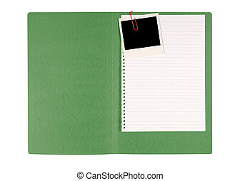 Office file folder with untidy note paper