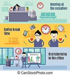 Office Flat Banner Set