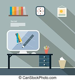 Office Flat Design Vector Illustration