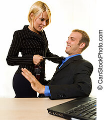 Office flitation - Business man sitting down with a business...