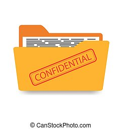 Office folder with documents, confidential, isolated on white background