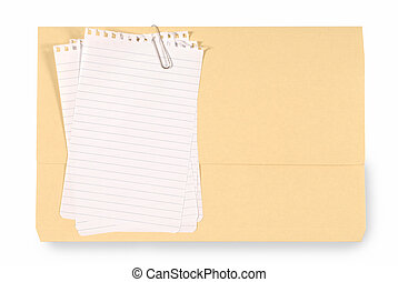 Office folder with untidy note paper