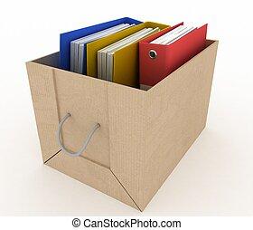 office folders in cardboard box