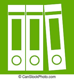 Office folders with documents icon green
