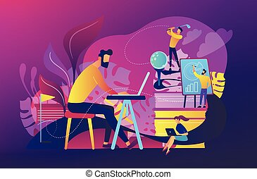 Office fun concept vector illustration. - People in office...
