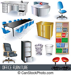 Office furniture - A collection of colored office furniture ...