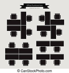 Office Furniture Icon, Top View for Interior Plan, vector...