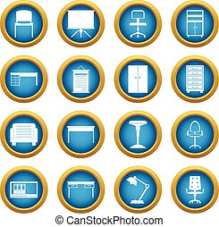 Office furniture icons blue circle set