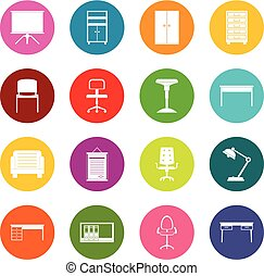 Office furniture icons many colors set isolated on white for...