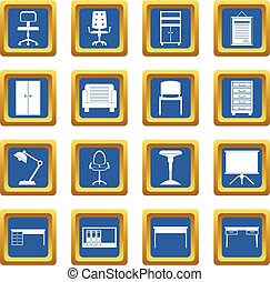 Office furniture icons set blue