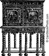Office furniture on credence table ebony sixteenth century (Hammer Museum in Stockholm, vintage engraving.