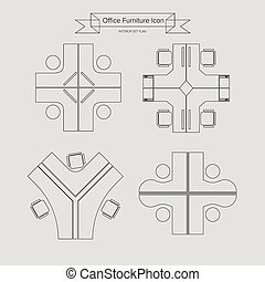 Office Furniture outline Icon, Top View for Interior Plan,...