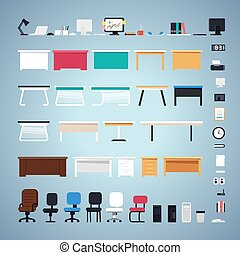 Office Furniture Set. Easy to Create Custom Workplace. In the EPS file, each element is grouped separately. Clipping paths included in additional jpg format.