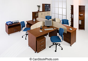 Set of office furniture on an isolated studio background