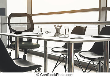 Office furniture with working supplies - Table and chairs ...
