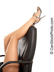 office games - beautiful legs over office chair