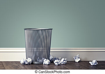 garbage - office garbage near metal basket