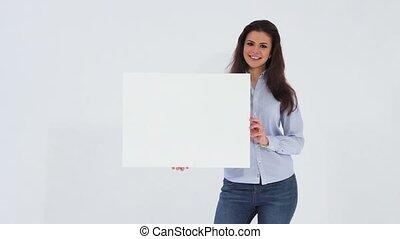Office girl holding white banner