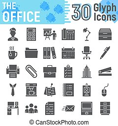 Office glyph icon set, business symbols collection, vector sketches, logo illustrations, work signs solid pictograms package isolated on white background, eps 10.