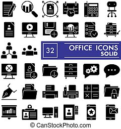 Office glyph icon set, workspace symbols collection, vector sketches, logo illustrations, work signs solid pictograms package isolated on white background, eps 10.