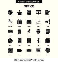 Office Glyph Vector Icon set