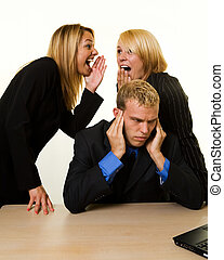 Office gossip - One business man with hands covering hears...