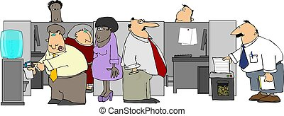 This illustration depicts a group of office workers centered around the water cooler.