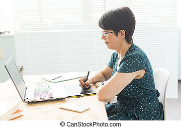 Office, graphic designer concept - Business woman hands holding digital tablet, drawing the sketch