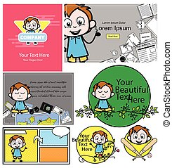 Office Guy with Various Templates - Set of Concepts Vector illustrations