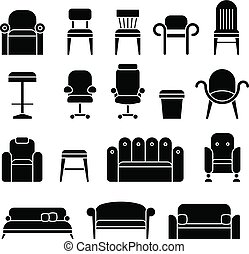 Office hair, armchair, lounge, comfortable sofa, couch furniture vector icons