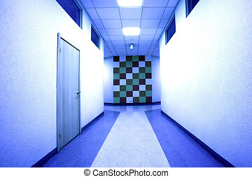 Office hall in blue light