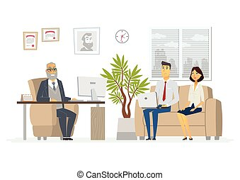 Office Head Consultation - modern vector cartoon business character illustration