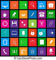 Office icon series in metro style vector illustration