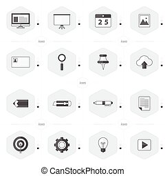 office icon set black and white color