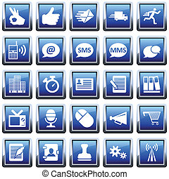 Office icon set - Office and communication icon set. Vector...