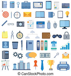 vector illustration of collection of office icon