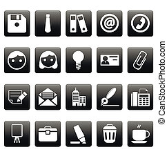 Office icons on black squares