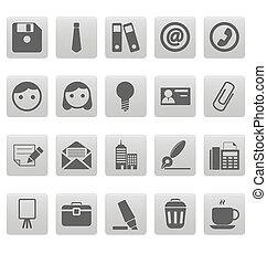 Office icons on gray squares