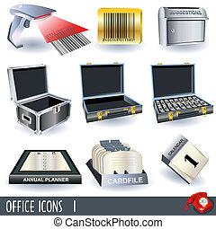 Office icons set 1 - Set of variety color office icons, part...