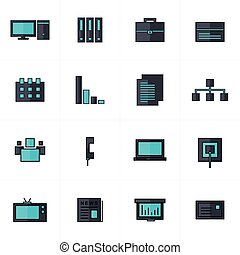office icons set black and blue
