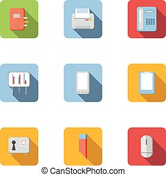 Office icons set, flat style