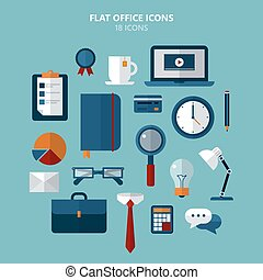 Office Icons Set in Flat Style