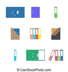 Office icons, set of cardboard folders, vector illustration.