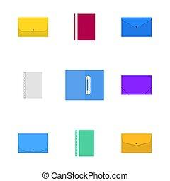 Office icons, set of plastic folders, vector illustration.