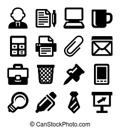 Office Icons Set on White Background. Vector