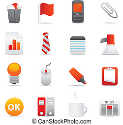 Office Icons Set | Red Series 02