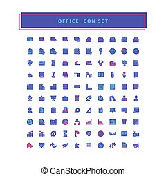 office icons set vector with filled outline style design