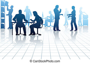 Office - Editable vector silhouettes of people in a busy...